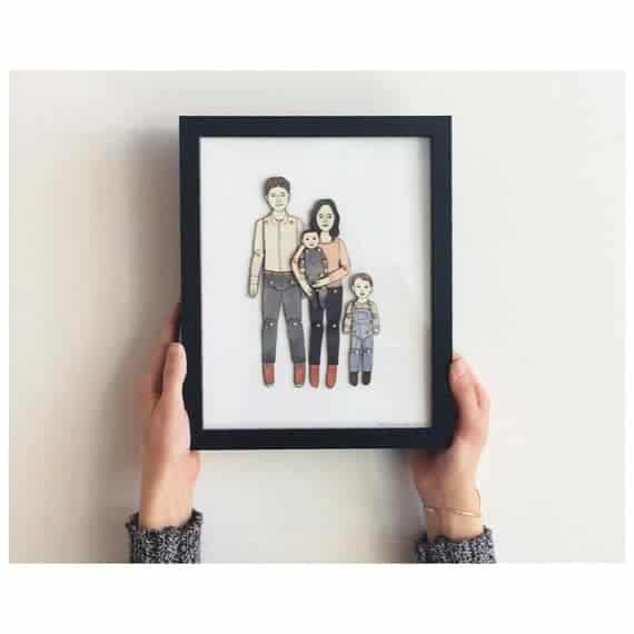 Framed Paper Doll Portrait