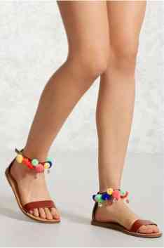Faux Leather Pom Pom Sandals