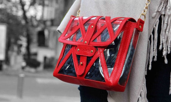 Clear Stadium Bag with Red Leather Accents