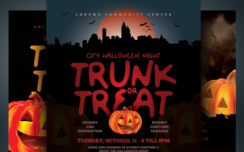 Halloween Trunk or Treat Flyer Corporate Identity Template