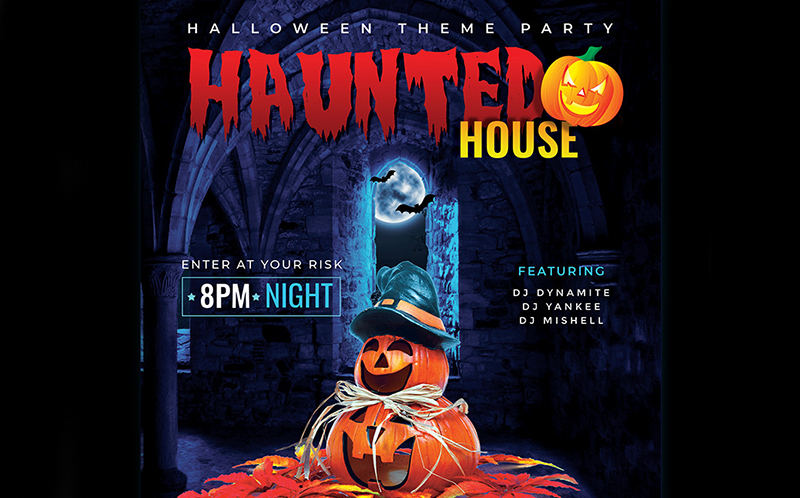 Haunted House Party Flyer - Halloween Night Corporate Identity Template