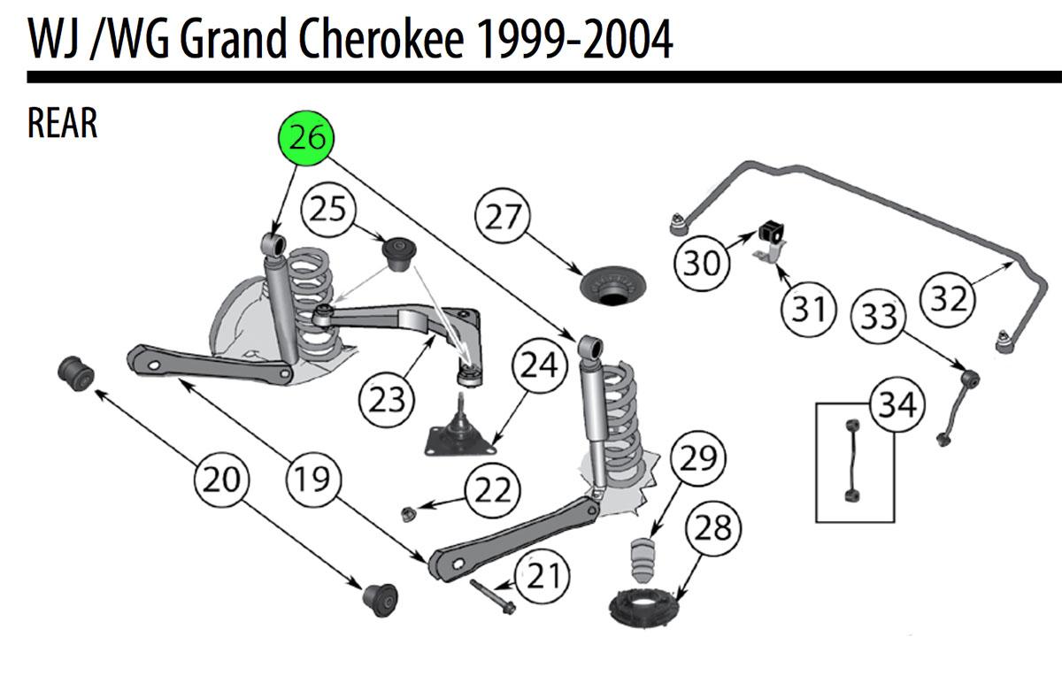 Jeep Wj Cherokee Rear Shock Absorber Af