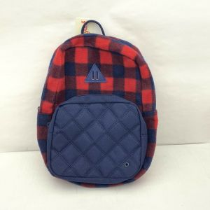 Cat & Jack Red Blue Plaid Flannel Kids Backpack New!