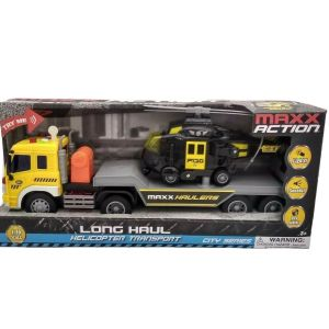 Maxx Action Long Haul Helicopter Transport – Semi Trucks Lights and Sounds NEW