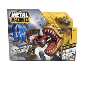 ZURU Metal Machines T-Rex Attack Playset NEW!! Yellow DIno and Red Truck