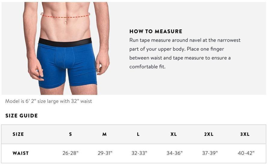 Box set Underwear Size