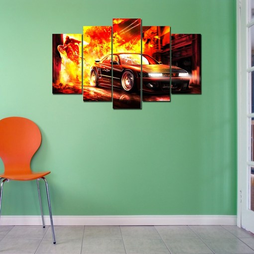 Fire Car wall canvas
