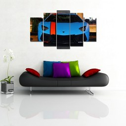 Blue car wall canvas