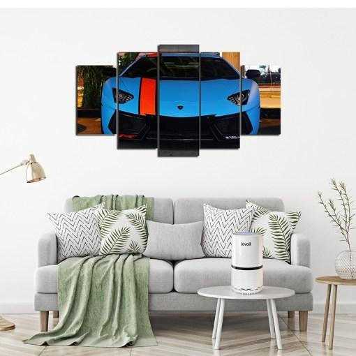 Blue car wall canvas