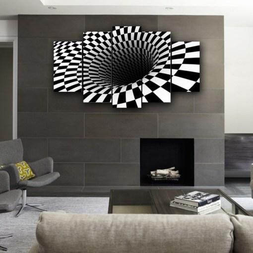 White & Black Hole Wall Canvas