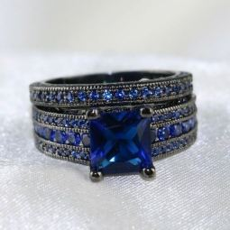 Blue Zircon Ring Sets
