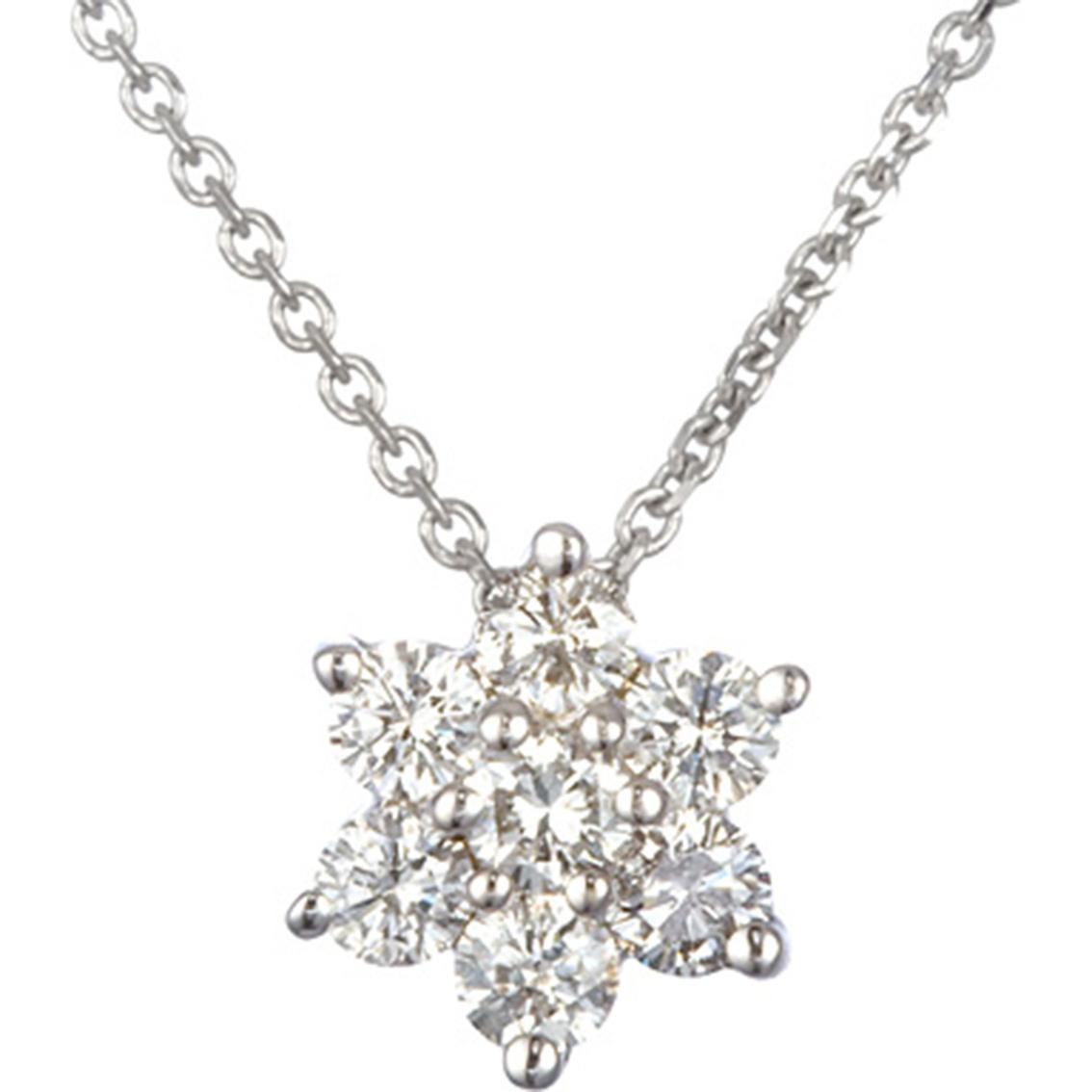 14k White Gold 1 4 Ctw Petite Diamond Flower Cluster