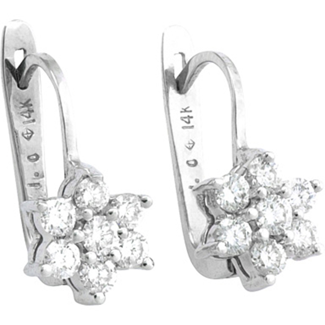 14k White Gold 1 2 Ctw Petite Diamond Flower Cluster