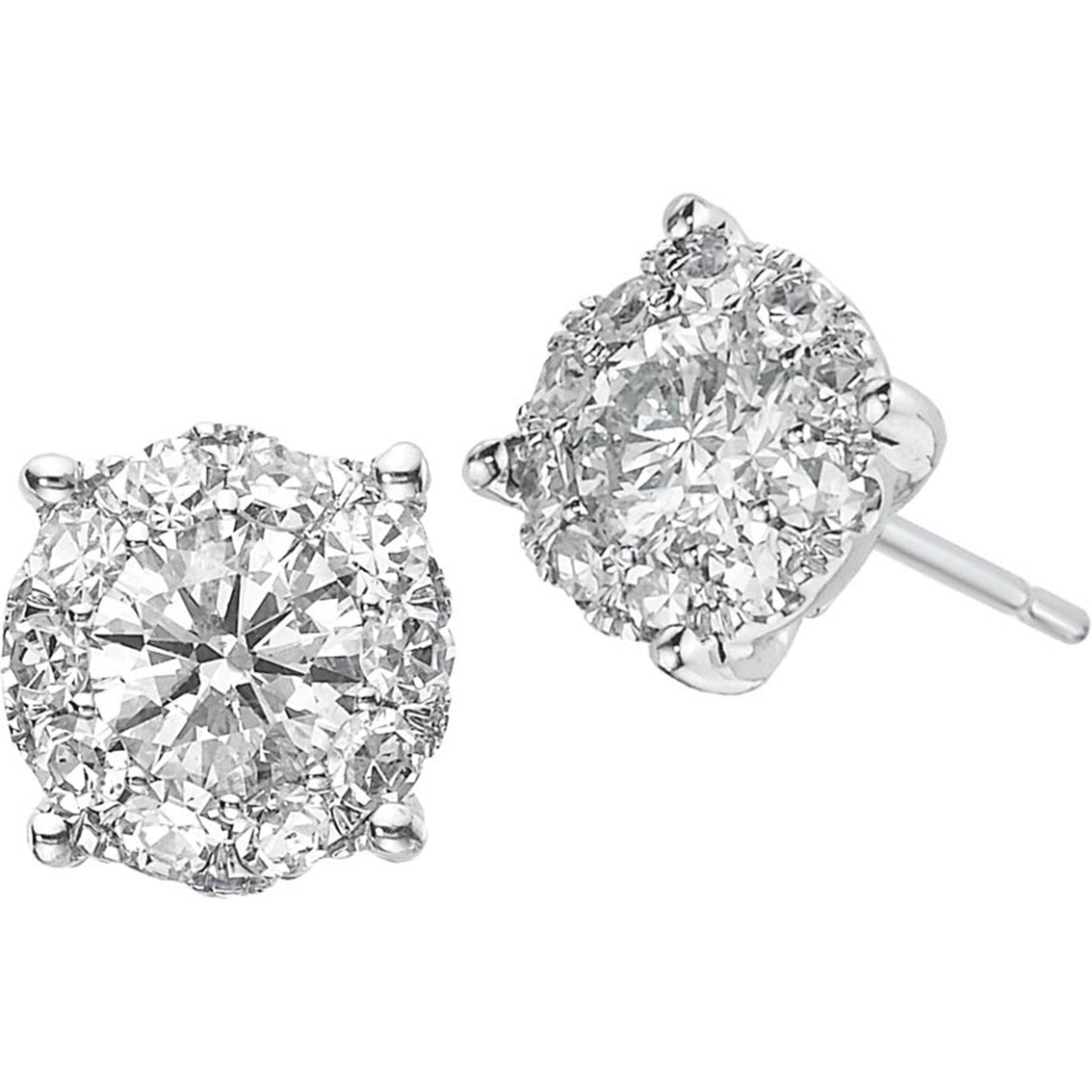 14k White Gold 3 4 Ctw Diamond Cluster Earrings