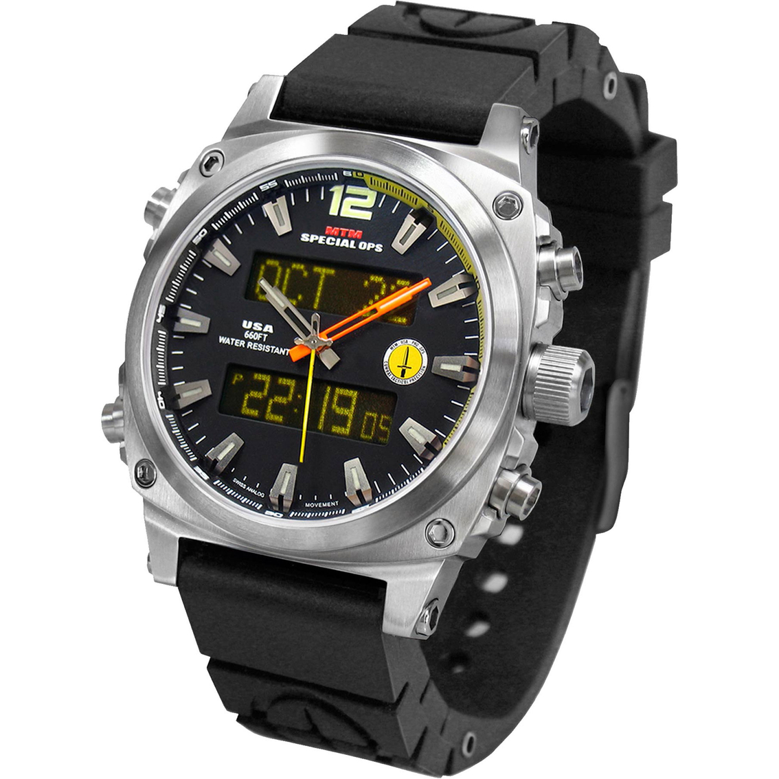 Mtm Special Ops Mens Silver Air Stryk Watch With Rubber Strap Watches Military Shop The