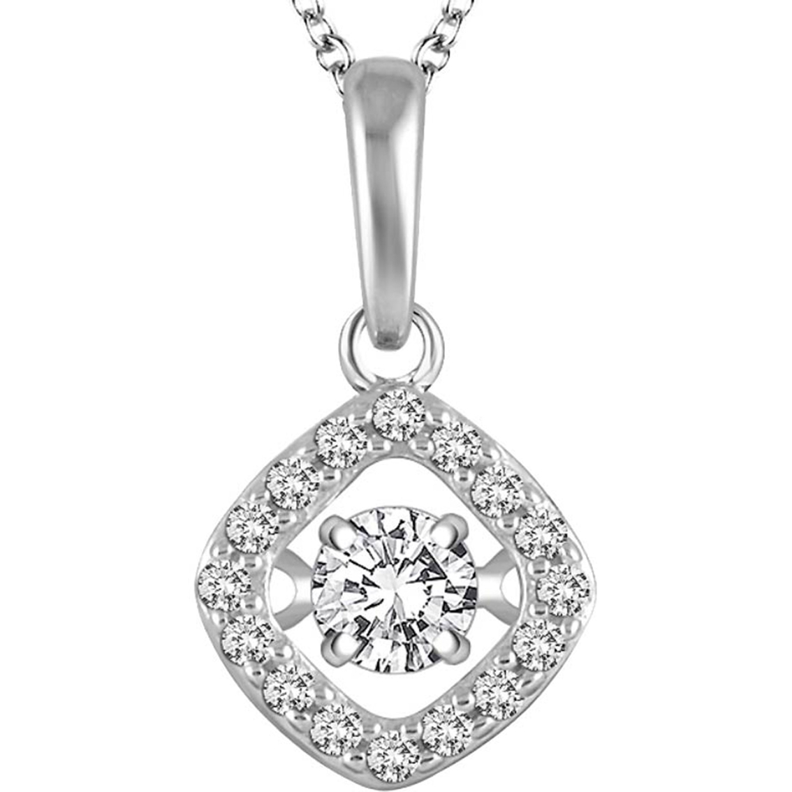 14k White Gold 1 4 Ctw Dancing Diamond Halo Pendant