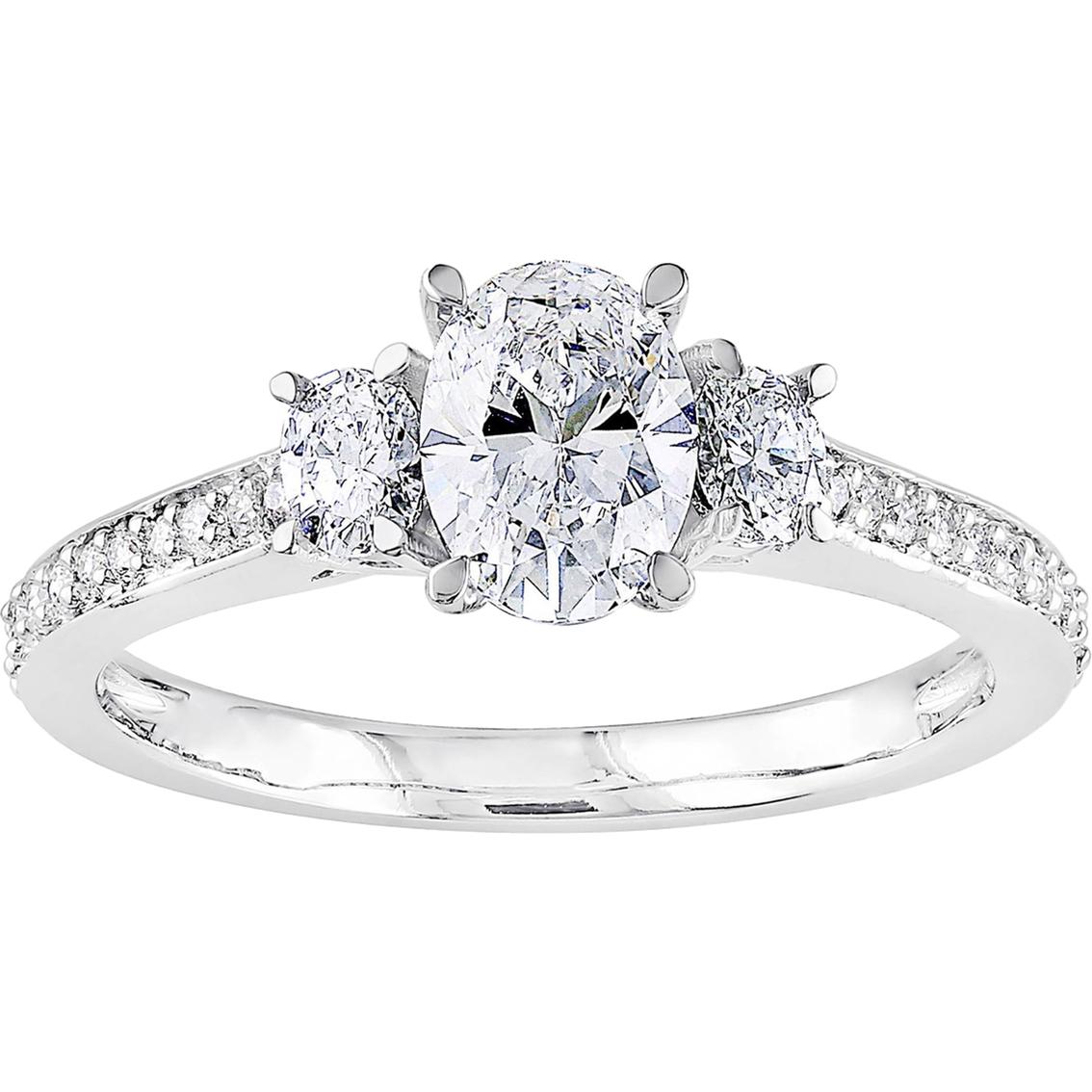 Diamore 14k White Gold 1 1 10 Ctw Oval Cut Diamond 3 Stone