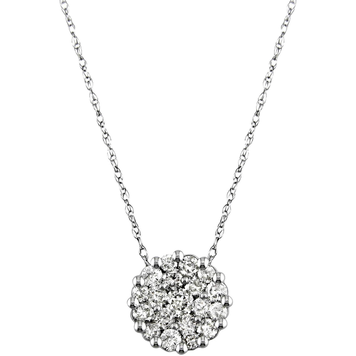14k White Gold 1 Ctw Round Diamond Cluster Pendant