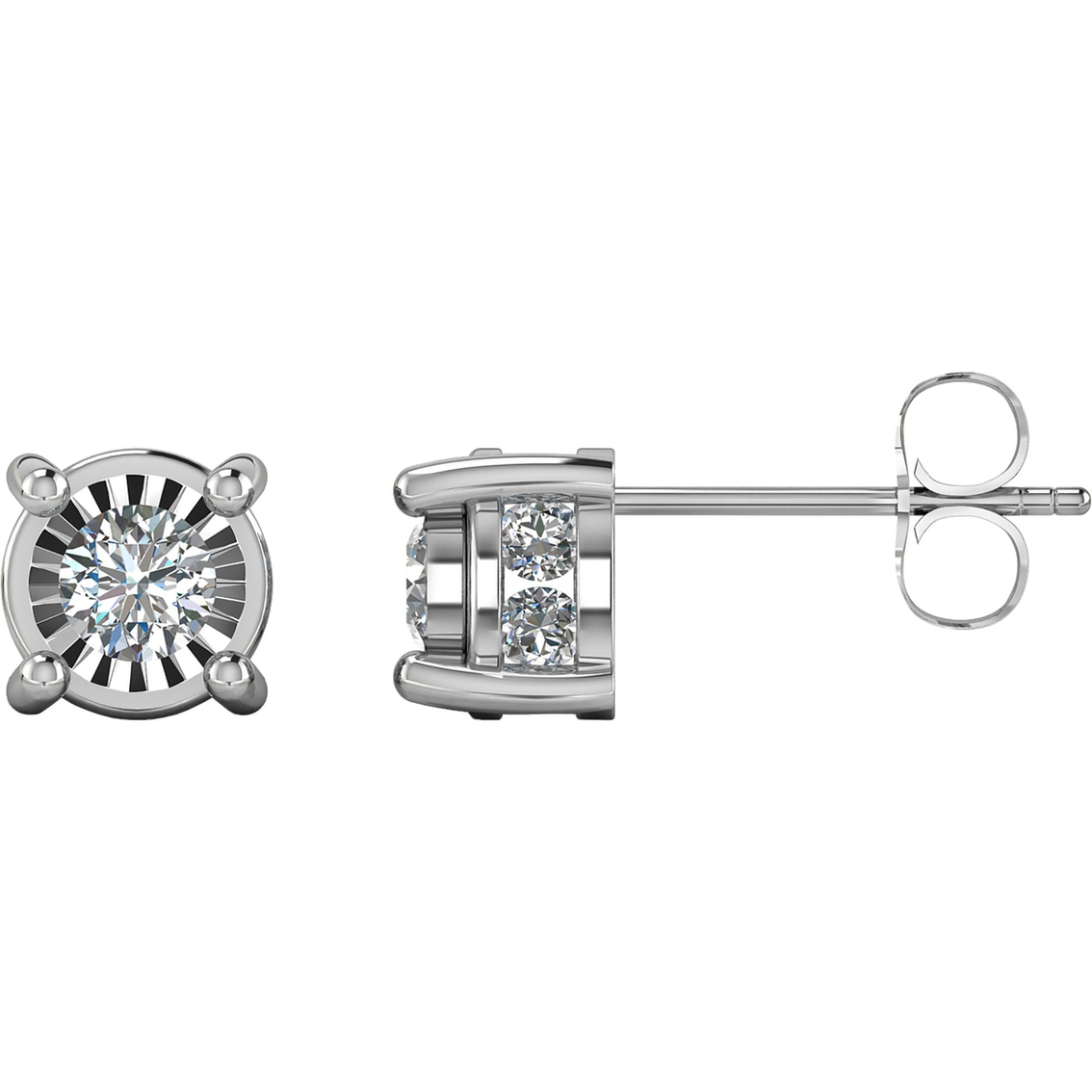 10k White Gold 1 2 Ctw Diamond Stud Earrings
