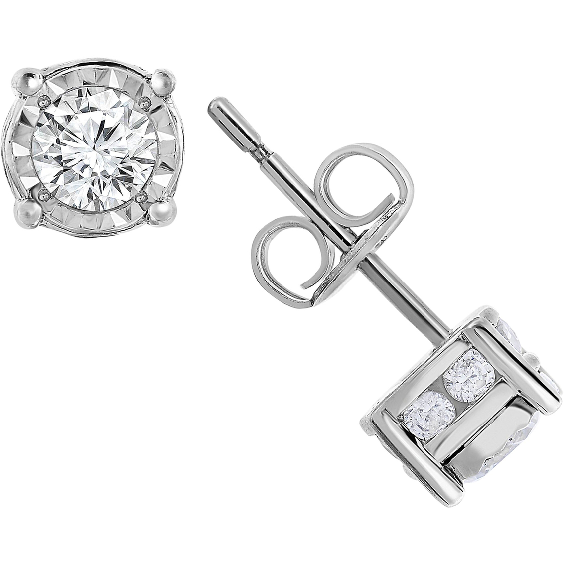 10k White Gold 1 Ctw Diamond Stud Earrings