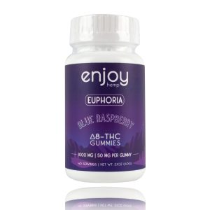 Enjoy Hemp euphoria Blue Raspberry Delta 8 THC Gummies 1000mg