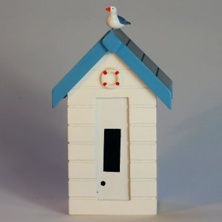 Beach Hut Money Box in Pastel White