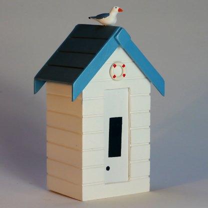 Beach Hut Money Box in Pastel White