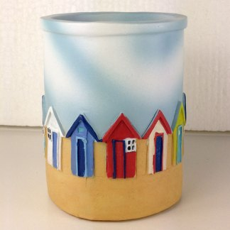 Bright Beach Hut Pen Pots