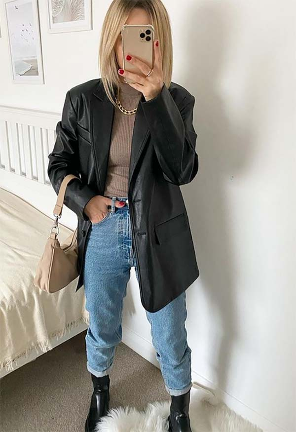 Leather blazer outfit inspiration