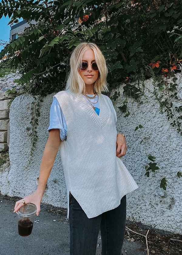 Knit vest streetstyle outfit