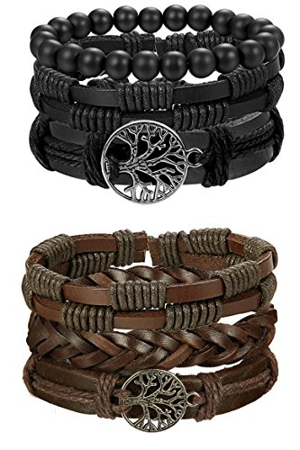FIBO STEEL Life Bracelet for Men Women Tribal Leather Bracelet Wristbands Adjustable