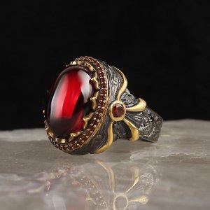 خاتم تركي فضة (حجر الزركون الاحمر )