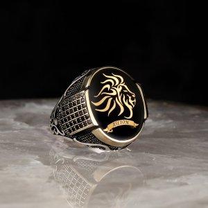خاتم فضة ( اسم وشعار حسب الرغبة )