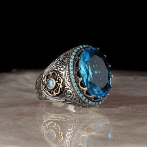 الأزرق توباز 925 خاتم فضة