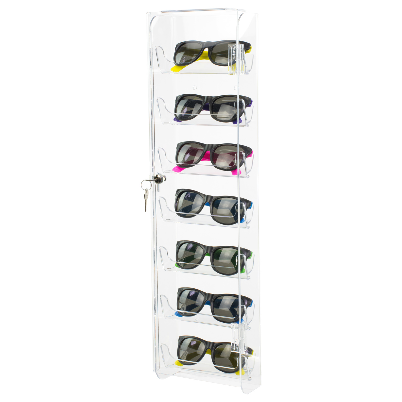 Acrylic Wall Mount Locking Sunglasses Display