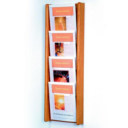 light oak wall mount 4 pocket vertical magazine rack with acrylic front