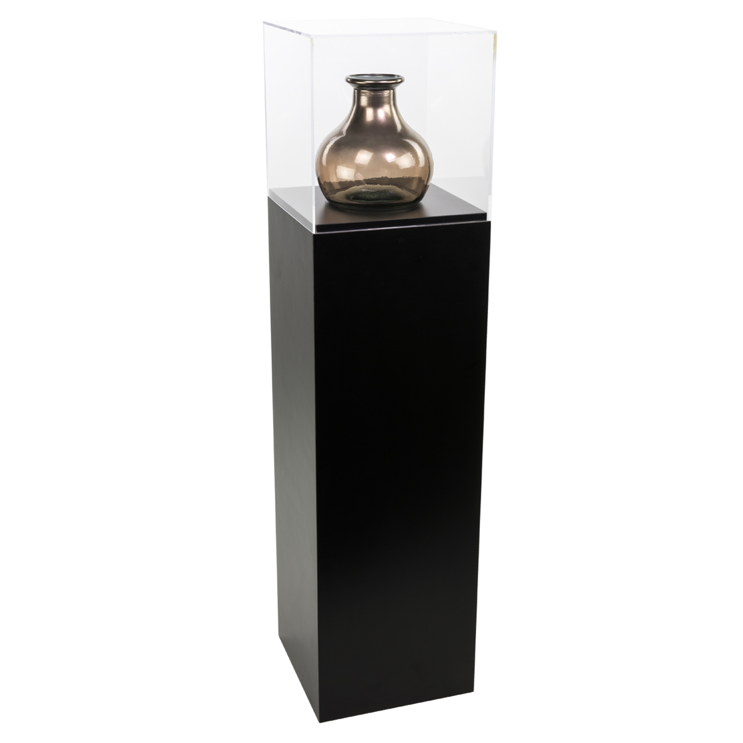 Black Laminate Pedestal Display Case With Acrylic Cover
