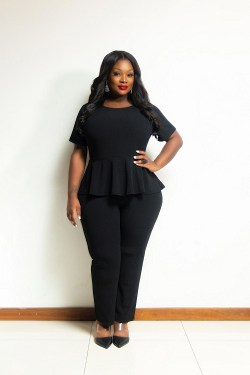 Black Peplum Jump Suit