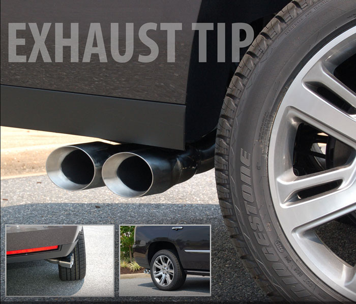 cadillac escalade single to dual outlet exhaust tip by e g classics 2015 2019
