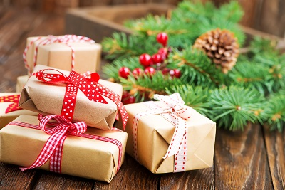boxes for presents with color ribbons, Christmas gifts