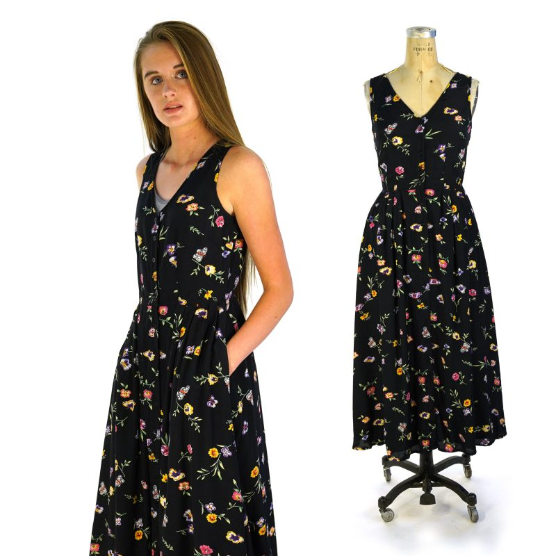 90s Floral Rayon Maxi Length Sundress with Full Skirt & Pockets