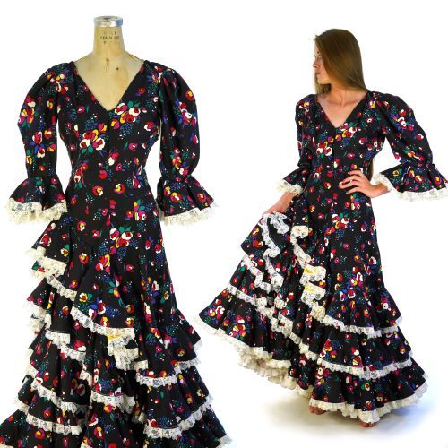 Handmade Flamenco Style Dress with Ruffles