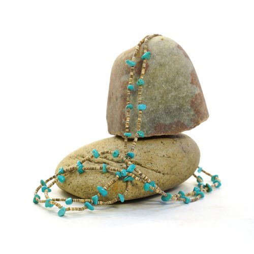 Heishi & Turquoise Long Double Strand Necklace