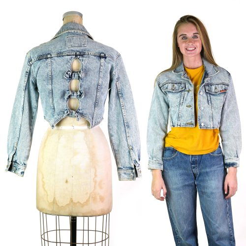 Vintage 80s Jordache Acid Wash Cropped Denim Jacket Size Small