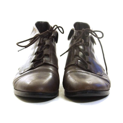 Lace Up Ankle Boots in Brown Leather Vintage 90s Size 8