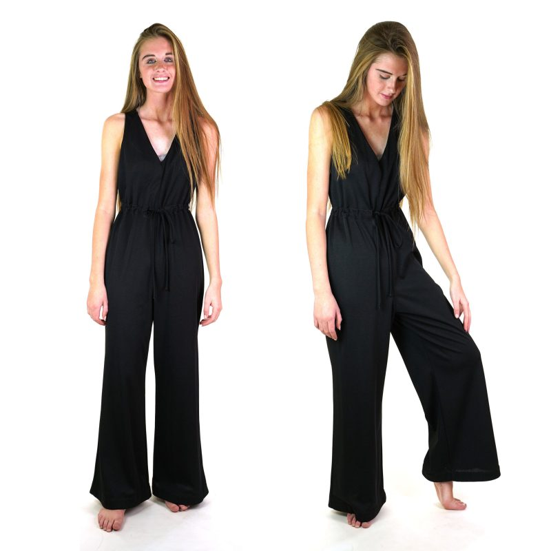 Vintage 70s Black Palazzo Pants Jumpsuit Size Medium