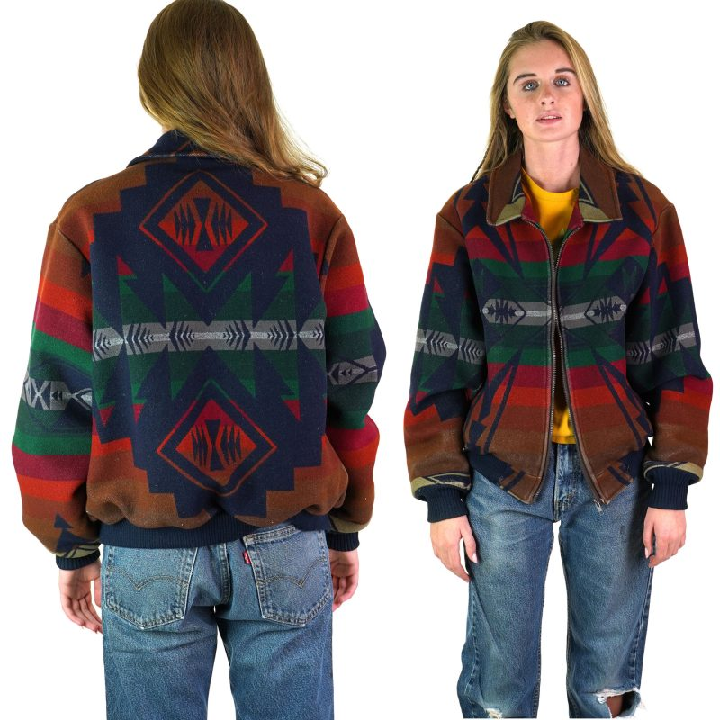 Pendleton Wool Indian Blanket Coat Vintage 80s