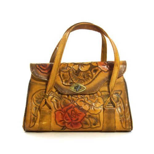 Vintage 70s Western Tooled Leather Bag