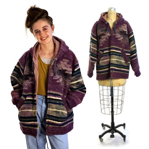 Vintage Southwestern Wool Indian Blanket Coat Unisex