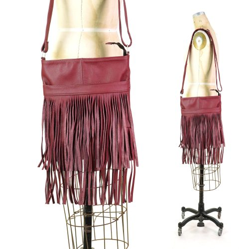 Vintage Fringed Leather Crossbody Shoulder Bag